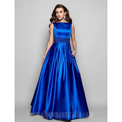 Australia Formal Evening Dress Prom Gowns Military Ball Dress Royal Blue Plus Sizes Dresses Petite Ball Gown A-line Bateau Long Floor-length Satin