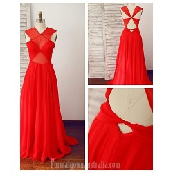 Australia Formal Dress Evening Gowns Ruby A-line V-neck Long Floor-length Chiffon