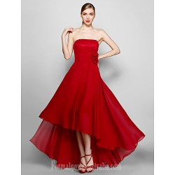 Australia Formal Dress Evening Gowns Burgundy Plus Sizes Dresses Petite A Line Strapless Asymmetrical Chiffon