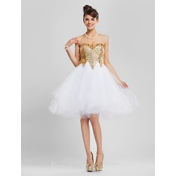 Australia Cocktail Party Dresses Prom Gowns Sweet 16 Dress Gold Plus Sizes Dresses Petite A-line Princess Ball Gown Strapless Sweetheart