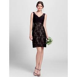 Short Knee-length Lace Bridesmaid Dress Black Plus Sizes Dresses Petite A-line V-neck