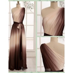 Australia Formal Dress Evening Gowns Brown A-line Sexy One Shoulder Long Floor-length Chiffon