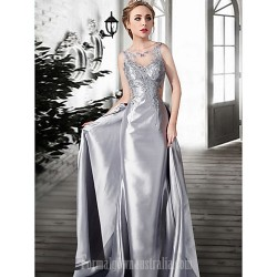 Australia Formal Dress Evening Gowns Silver Champagne Plus Sizes Dresses Petite A Line Jewel Long Floor Length Lace Dress Satin Tulle