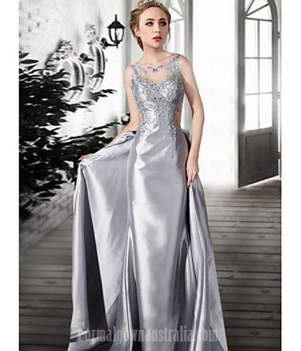 Australia Formal Dress Evening Gowns Silver Champagne Plus Sizes Dresses Petite A-line Jewel Long Floor-length Lace Dress Satin Tulle Formal Dress Australia
