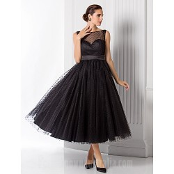 Australia Formal Dress Evening Gowns Black Plus Sizes Dresses Petite A-line Princess Bateau Tea-length Tulle