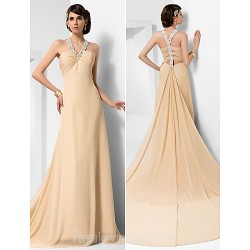 Australia Formal Dress Evening Gowns Champagne Plus Sizes Dresses Petite A-line Princess Straps Court Train Chiffon