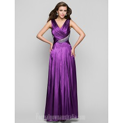 Prom Gowns Military Ball Australia Formal Dress Evening Gowns Grape Plus Sizes Dresses Petite A-line V-neck Long Floor-length Charmeuse
