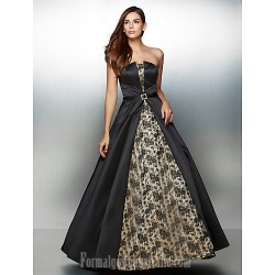 Australia Formal Dress Evening Gowns Multi Color A Line Strapless Ankle Length Lace Satin