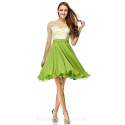 Australia Cocktail Party Dress Clover A-line Scoop Short Knee-length Chiffon Tulle