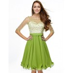 Australia Formal Dresses Cocktail Dress Party Dress Clover A-line Scoop Short Knee-length Chiffon Tulle Formal Dress Australia