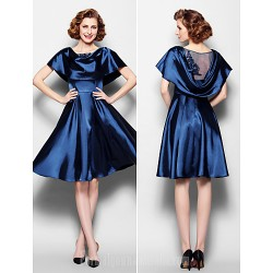 A-line Plus Sizes Dresses Petite Mother of the Bride Dress Dark Navy Short Knee-length Short Sleeve Stretch Satin Lace
