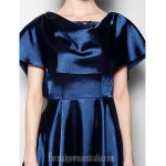 A-line Plus Sizes Dresses Petite Mother of the Bride Dress Dark Navy Short Knee-length Short Sleeve Stretch Satin Lace Formal Dress Australia