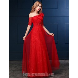 Australia Formal Dress Evening Gowns Ruby A Line Sexy One Shoulder Long Floor Length Lace Dress Tulle