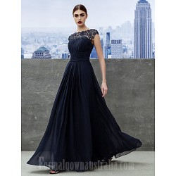 Australia Formal Dress Evening Gowns Dark Navy A-line Bateau Long Floor-length Georgette
