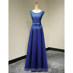 Australia Formal Evening Dress Royal Blue Plus Sizes Dresses Petite A-line Scoop Long Floor-length Satin