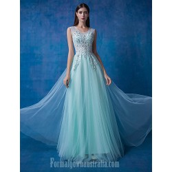 Australia Formal Evening Dress Sage Ocean Blue Ball Gown Scoop Long Floor-length Lace Dress Tulle Sequined