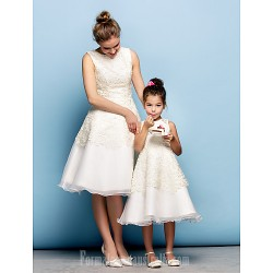 Australia Formal Dresses Cocktail Dress Party Dress Ivory Plus Sizes Dresses Petite A-line Jewel Short Knee-length Lace Organza