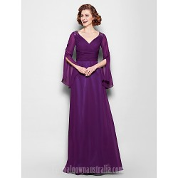 A-line Plus Sizes Dresses Petite Mother of the Bride Dress Grape Long Floor-length Long Sleeve Chiffon