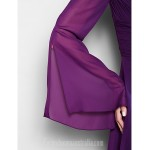 A-line Plus Sizes Dresses Petite Mother of the Bride Dress Grape Long Floor-length Long Sleeve Chiffon Formal Dress Australia