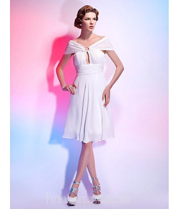 Australia Formal Dresses Cocktail Dress Party Dress Homecoming Graduation Dress White Plus Sizes Dresses Petite A-line Princess Off-the-shoulder V-neck Short Knee-length Chiffon Formal Dress Australia
