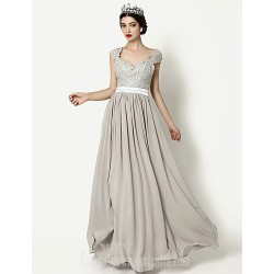 Australia Formal Evening Dress Silver A-line Queen Anne Long Floor-length Chiffon