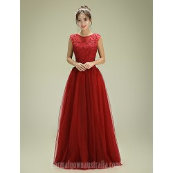 Australia Formal Dress Evening Gowns Burgundy A-line Jewel Long Floor-length Tulle Dress