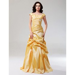 Prom Gowns Australia Formal Dress Evening Gowns Daffodil Plus Sizes Dresses Petite A-line Princess Off-the-shoulder Long Floor-length Taffeta