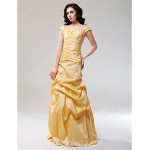 Prom Gowns Australia Formal Dress Evening Gowns Daffodil Plus Sizes Dresses Petite A-line Princess Off-the-shoulder Long Floor-length Taffeta Formal Dress Australia
