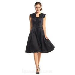 Australia Formal Dresses Cocktail Dress Party Dress Black A Line Square Short Knee Length Satin