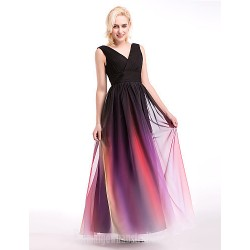 Australia Formal Dress Evening Gowns Multi-color Ball Gown V-neck Long Floor-length Chiffon