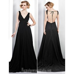 Australia Formal Dress Evening Gowns Black Plus Sizes Dresses Petite A-line V-neck Court Train Chiffon