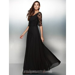 Australia Formal Dress Evening Gowns Black A Line Scoop Long Floor Length Chiffon Lace
