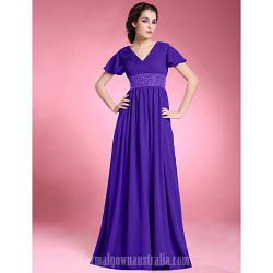 A Line Plus Sizes Dresses Petite Mother Of The Bride Dress Regency Long Floor Length Short Sleeve Chiffon
