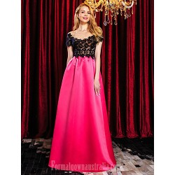 Australia Formal Dress Evening Gowns Multi Color A Line Bateau Long Floor Length Satin Tulle