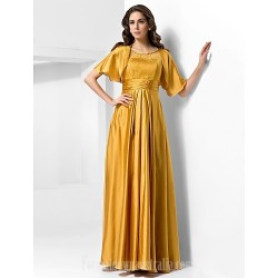 Military Ball Australia Formal Evening Dress Gold Plus Sizes Dresses Petite A-line Princess Scoop Long Floor-length Stretch Satin