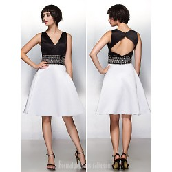 Australia Formal Dresses Cocktail Dress Party Dress Multi-color A-line V-neck Short Knee-length Satin