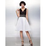 Australia Formal Dresses Cocktail Dress Party Dress Multi-color A-line V-neck Short Knee-length Satin Formal Dress Australia