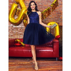 Australia Cocktail Party Dress Dark Navy Ball Gown Halter Short Knee-length Lace Tulle