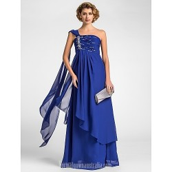 A-line Plus Sizes Dresses Petite Mother of the Bride Dress Royal Blue Long Floor-length Watteau Train Sleeveless Chiffon