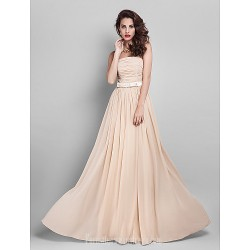 Long Floor-length Georgette Bridesmaid Dress Champagne Plus Sizes Dresses Hourglass Pear Misses Petite Apple Inverted Triangle