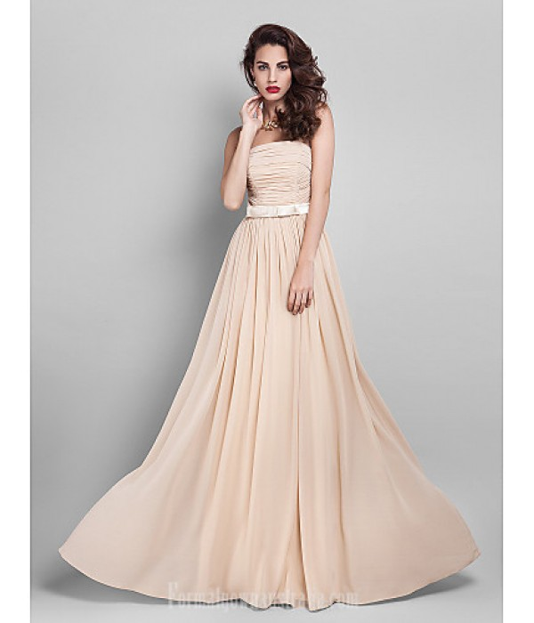 Long Floor-length Georgette Bridesmaid Dress Champagne Plus Sizes Dresses Hourglass Pear Misses Petite Apple Inverted Triangle Formal Dress Australia