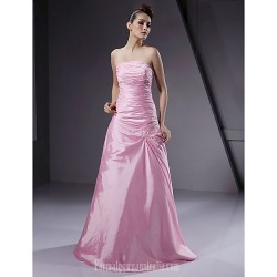 Long Floor Length Taffeta Bridesmaid Dress Blushing Pink Plus Sizes Dresses Petite A Line Princess Strapless