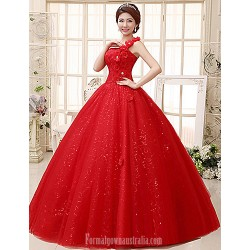 Ball Gown Wedding Dress Ruby Long Floor-length Sexy One Shoulder Lace Tulle