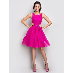 Australia Cocktail Party Dresses Holiday  Dress Fuchsia Plus Sizes Dresses Petite A-line Scoop Short Knee-length Stretch Satin