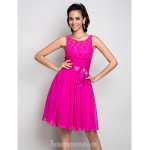 Australia Formal Dresses Cocktail Dress Party Dress Holiday Dress Fuchsia Plus Sizes Dresses Petite A-line Scoop Short Knee-length Stretch Satin Formal Dress Australia