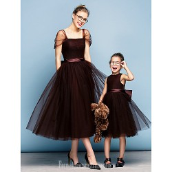 Australia Formal Dress Evening Gowns Chocolate Plus Sizes Dresses Petite Ball Gown Square Tea-length Tulle