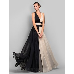 Military Ball Australia Formal Dress Evening Gowns Multi-color Plus Sizes Dresses Petite A-line Princess V-neck Long Floor-length Chiffon