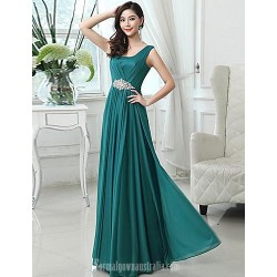 Long Floor-length Chiffon Bridesmaid Dress Fuchsia Royal Blue Dark Green Blushing Pink Ruby Grape Sky Blue A-line Scoop