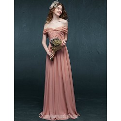 Australia Formal Dress Evening Gowns Candy Pink A Line Off The Shoulder Long Floor Length Chiffon