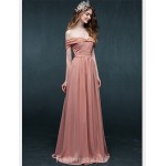 Australia Formal Dress Evening Gowns Candy Pink A-line Off-the-shoulder Long Floor-length Chiffon Formal Dress Australia